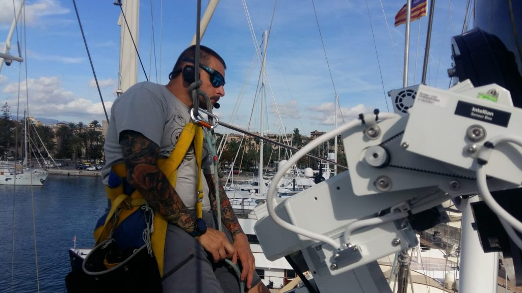 Tallamar marine electronics certified technicians in action. They have installed Intellian's v100 which is the most popular 1m antenna in the business. Intellian states VSAT as viable satellite communication solution. Tallamar guarantees best in class installation of VSAT